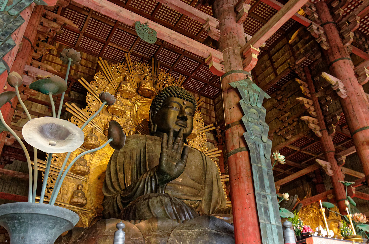 The Great Buddha, some 50 feet in height, is one of Japan's largest bronze sculptures.
