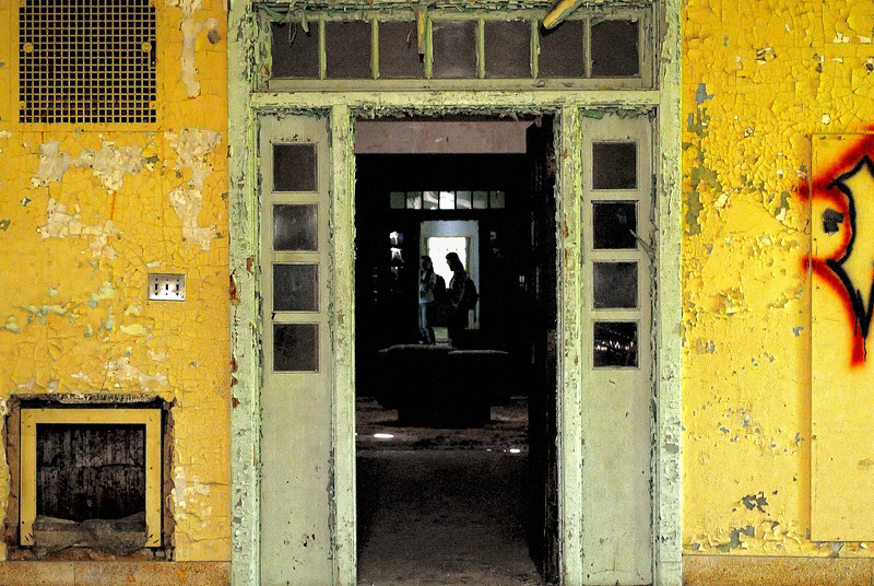 Colorful inside door of abandoned Forest Haven Asylum - a color image