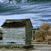 A false-color infrared image of dilapidated shack on Virginia's Eastern Shore