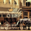 Horse-drawn carriage in Fredericksburg railway station - a false-color infrared image