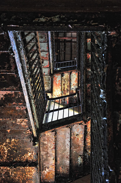 View of stairwell of abandoned Forest Haven Asylum - a color image