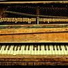 Partial view of a broken Kimball piano in the abandoned chapel of the Forest Haven mental asylum in Laurel, Maryland