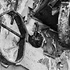 Rusted shackles of abandoned Forest Haven Asylum - a black-and-white image