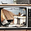 Broken TV of abandoned Forest Haven Asylum - a color image