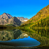 Grinnell Glacier reflections in the Many Glacier area of Glacier National Park - a color image