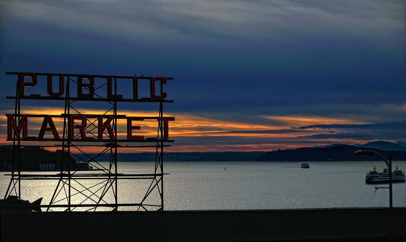 Seattle's Pike Place public market neon sign – a color image