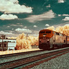 Amtrak train in Fredericksburg railway station - a false-color infrared image
