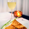 Smoked salmon crepes at a restaurant in the Canary Islands - a color image