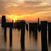 A color image of a golden beach sunset on Virginia's Eastern Shore