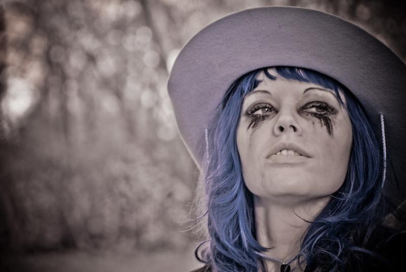 Portrait of Halloween model – a false-color infrared image