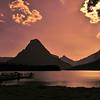 Glacier silhouettes in the Two Medicine area of Glacier National Park - a color image