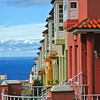 Colorful row houses in a Canary Island town - a color image
