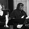 Keli Vale and Richard Tucker sing and play jazz - a black and white image