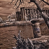 View of Graffiti Underground, an abandoned pier in Philadelphia - a false color infrared and hdr image