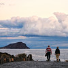 Older adult couple on a Canary Island walkway - a color image