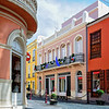 Colorful shops in a Canary Island town - a color image