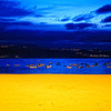 Boats on water at twilight in the Canary Islands - a color image