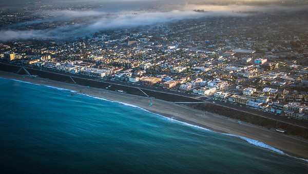 Sunrise Aerial Photograph of Torrance Beach and Redondo Beach