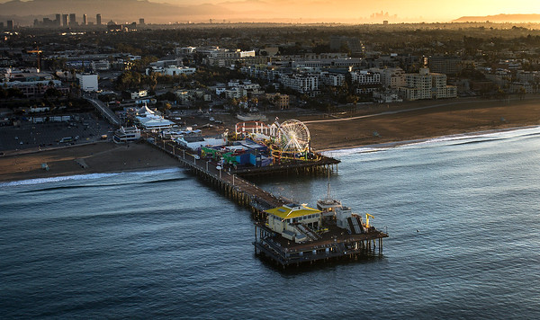 Santa Monica Pier, Sunrise Aerial Image. Santa Monica, California photography