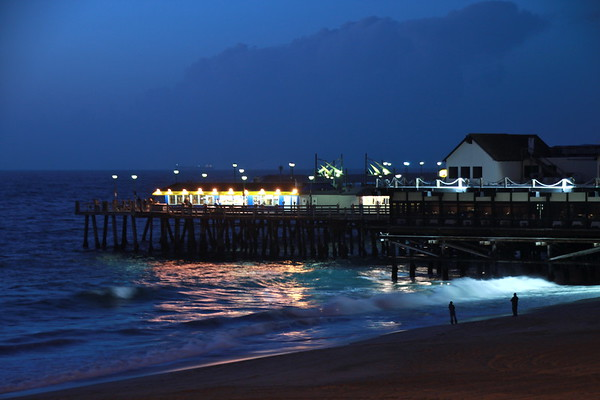 """Redondo Pier, Night""  This shot of the Redondo Beach Pier was taken just after a storm. Note the clouds in the background."