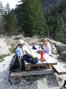 Quick lunch break while we figure out our next move, since our 12-mile hike was cut in half by the snow.