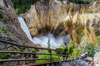 Looking down the metal staircase that forms Uncle Tom's Trail to the bottom of the Grand Canyon of Yellowstone can be quite dizzying. This descent is not for those with a fear of heights. The park also discourages visitors with a heart condition from attempting this descent as the ascent can be a real killer.
