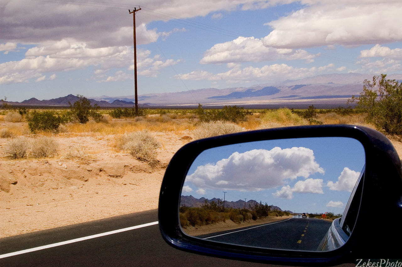 Base of the Mojave desert, with a rear view perspective.