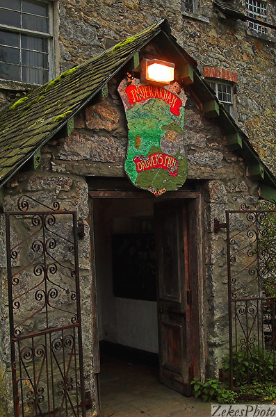 Entrance to Stagger Inn, a 300 year old stage coach stop with incredible food and a floor that seems to shift and tilt with each new growth spurt of the surrounding oak trees.
