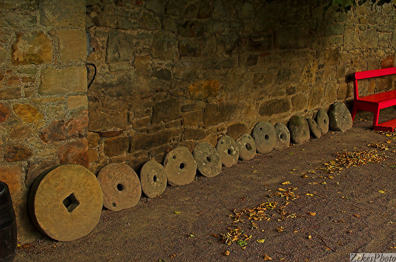 Stone wheels on display at Cawdor casle.  I an not sure if these were for grinding or sharpening blades or were used on carts.  The line of them was quite impressive, allowing the visitor to be carried back to a time when indeed the wheels might have been sold or traded for.