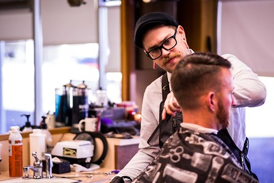 Skyline Barbershop in Idaho Falls, ID. March 17, 2016. (Brad Barlow/B2X Photo)