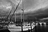 Storm Naples docks 2675 bw