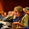 KRISTOPHER RADDER — BRATTLEBORO REFORMER<br /> Kathy Michael, of Rockingham, goes through the Rockingham budget during the annual Rockingham Town Meeting at the Bellows Falls Opera House, in Bellows Falls, Vt., on March 2, 2020.