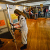KRISTOPHER RADDER — BRATTLEBORO REFORMER<br /> Mirra Macy, of Brattleboro, Vt., fills out her ballots for the presidential primary and local election at the American Legion, in Brattleboro, on Super Tuesday on March 3, 2020.