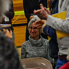 KRISTOPHER RADDER — BRATTLEBORO REFORMER<br /> Carol Schnabel, of Guilford, Vt., smiles as she gets a standing ovation for her work at the Guilford Free Library during Town Meeting Day at the Guilford Central School on Tuesday, March 3, 2020.