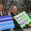 KRISTOPHER RADDER — BRATTLEBORO REFORMER<br /> People running for Brattleboro Select Board stand outside the American Legion, in Brattleboro, as people cast their ballots on Super Tuesday on March 3, 2020.