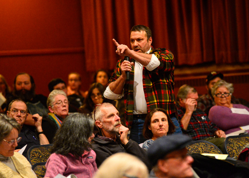 KRISTOPHER RADDER — BRATTLEBORO REFORMER<br /> Residents gather at the Bellows Falls Opera House, in Bellows Falls, Vt., for the annual Rockingham Town Meeting on March 2, 2020.