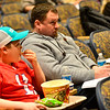 KRISTOPHER RADDER — BRATTLEBORO REFORMER<br /> Jeremy Haskins, of Rockingham, Vt., and his son Payton, listens during the annual Rockingham Town Meeting at the Bellows Falls Opera House, in Bellows Falls, Vt., on March 2, 2020.