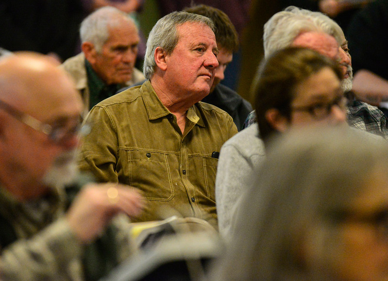 KRISTOPHER RADDER — BRATTLEBORO REFORMER<br /> Bob Spencer, of Vernon, Vt., listens to members of the school board as they talk during the annual Vernon Town Meeting at the Vernon Elementary School on Monday, March 2, 2020.