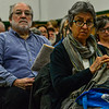 KRISTOPHER RADDER — BRATTLEBORO REFORMER<br /> Karen Murphy, of Guilford, Vt., knits while listening to different articles during Town Meeting Day at the Guilford Central School on Tuesday, March 3, 2020.