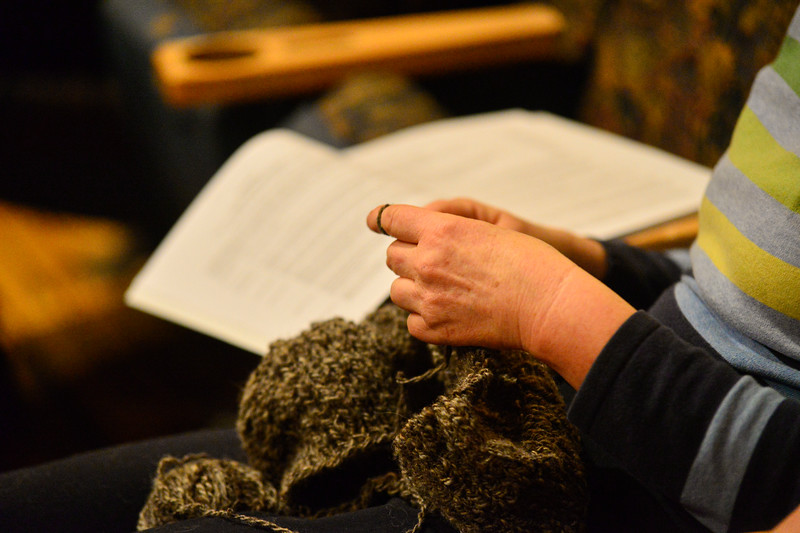 KRISTOPHER RADDER — BRATTLEBORO REFORMER<br /> Carol Blackwood, of Rockingham, Vt., works on a knitting project while listening during the annual Rockingham Town Meeting at the Bellows Falls Opera House, in Bellows Falls, Vt., on March 2, 2020.