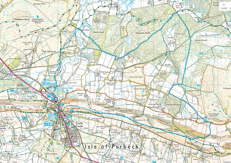 This blue trace shows the route we walked today - in a clockwise direction