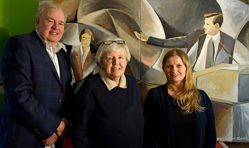Massachusetts State Representative Kevin Honan and his mother<br /> Mary Honan, with artist Marlena Bocian and her paintings of Brian Honan.<br /> Photo (c) Liane Brandon