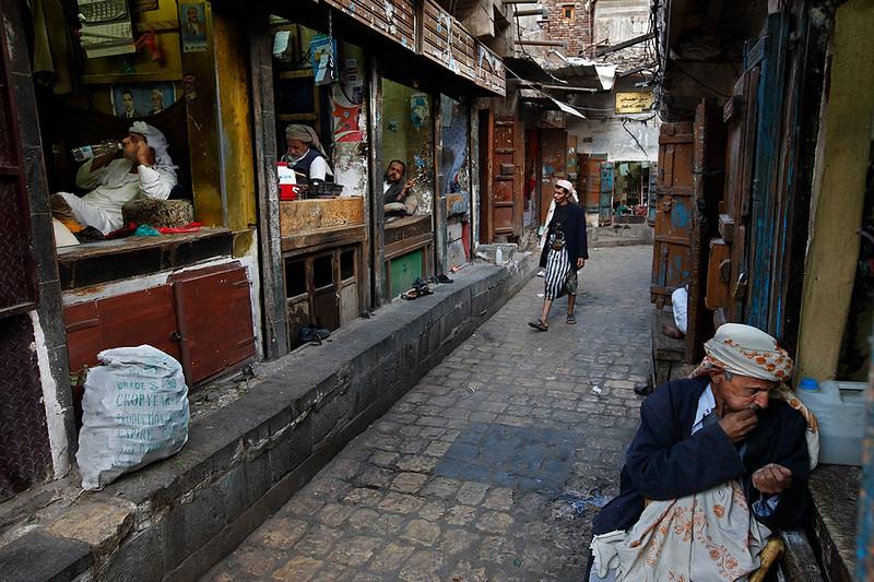 Men making knives in Sana'a.