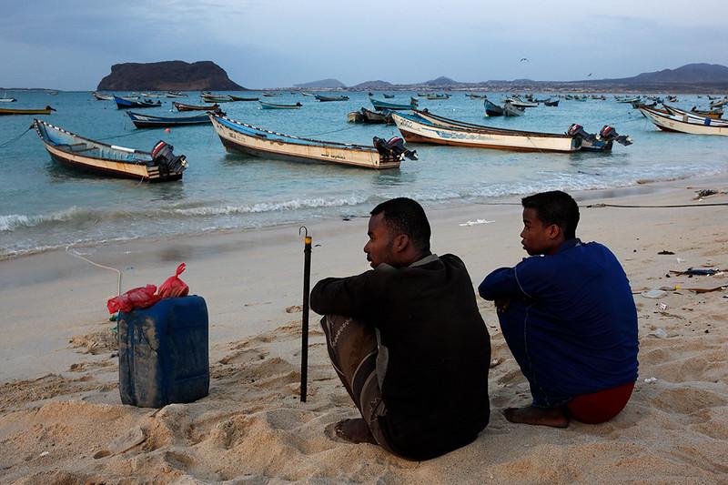 Fishermen on beach in Bir Ali.