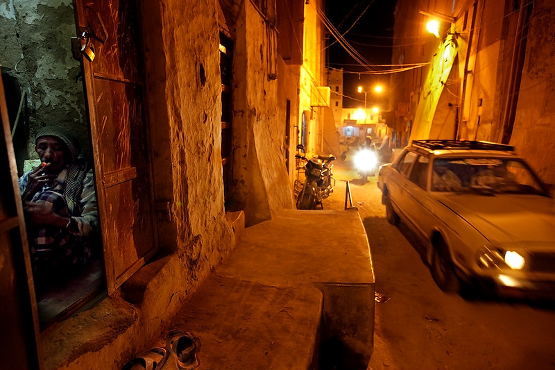 Streets of Shibam after nightfall.