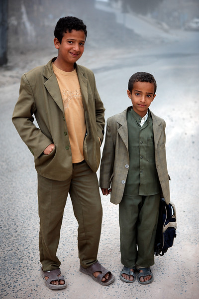 Young boys going to school.