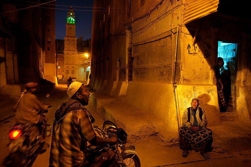 Streets of Shibam after nightfall.
