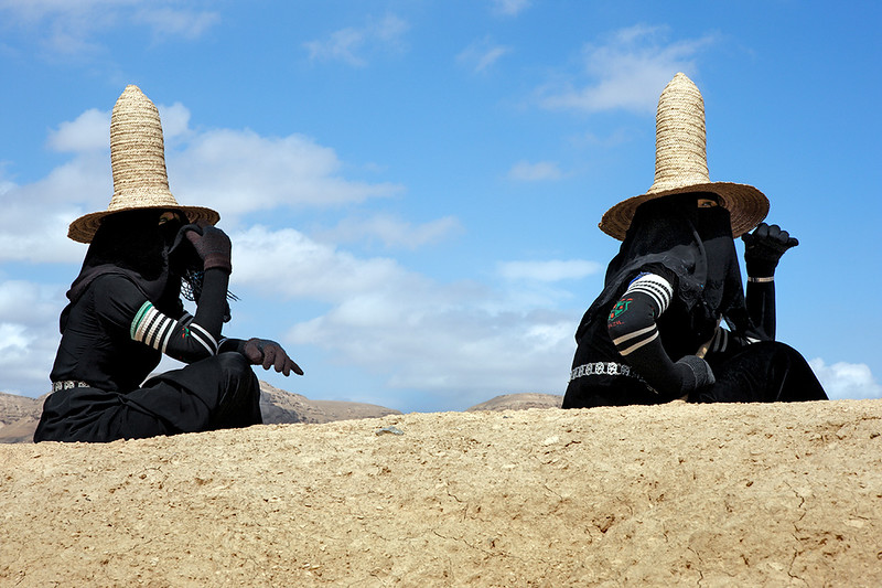 Women with traditional hats just outside Shibam.