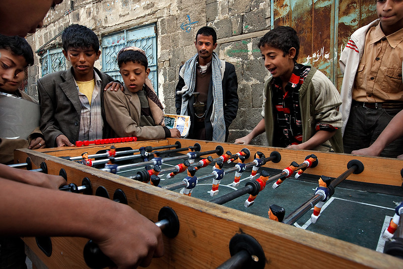 Boys playing soccer-game in Sana'a.