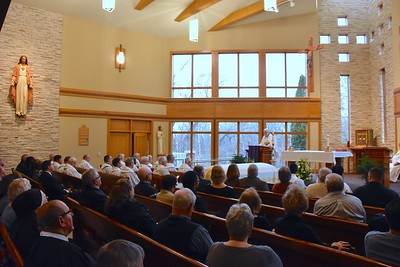 Fr. Ed gave the homily to a fully packed chapel